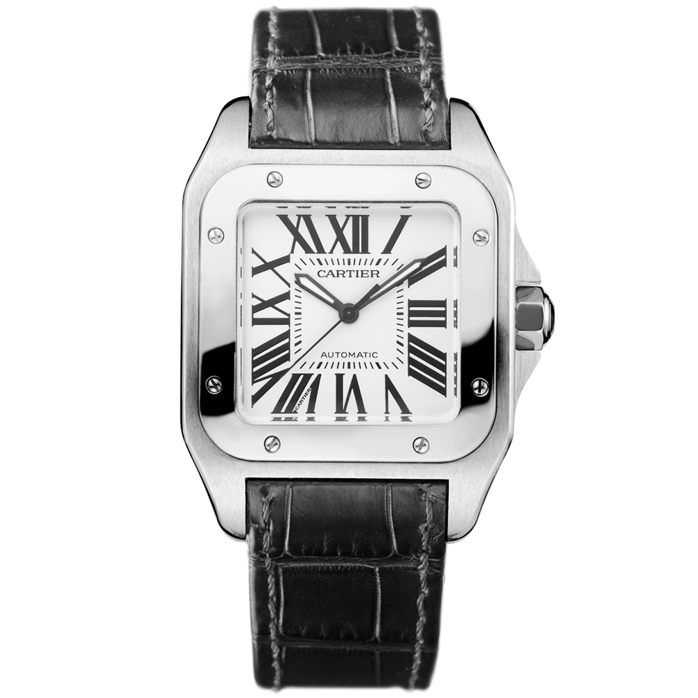 santos 100 automatic steel medium model black leather strap menu0026039