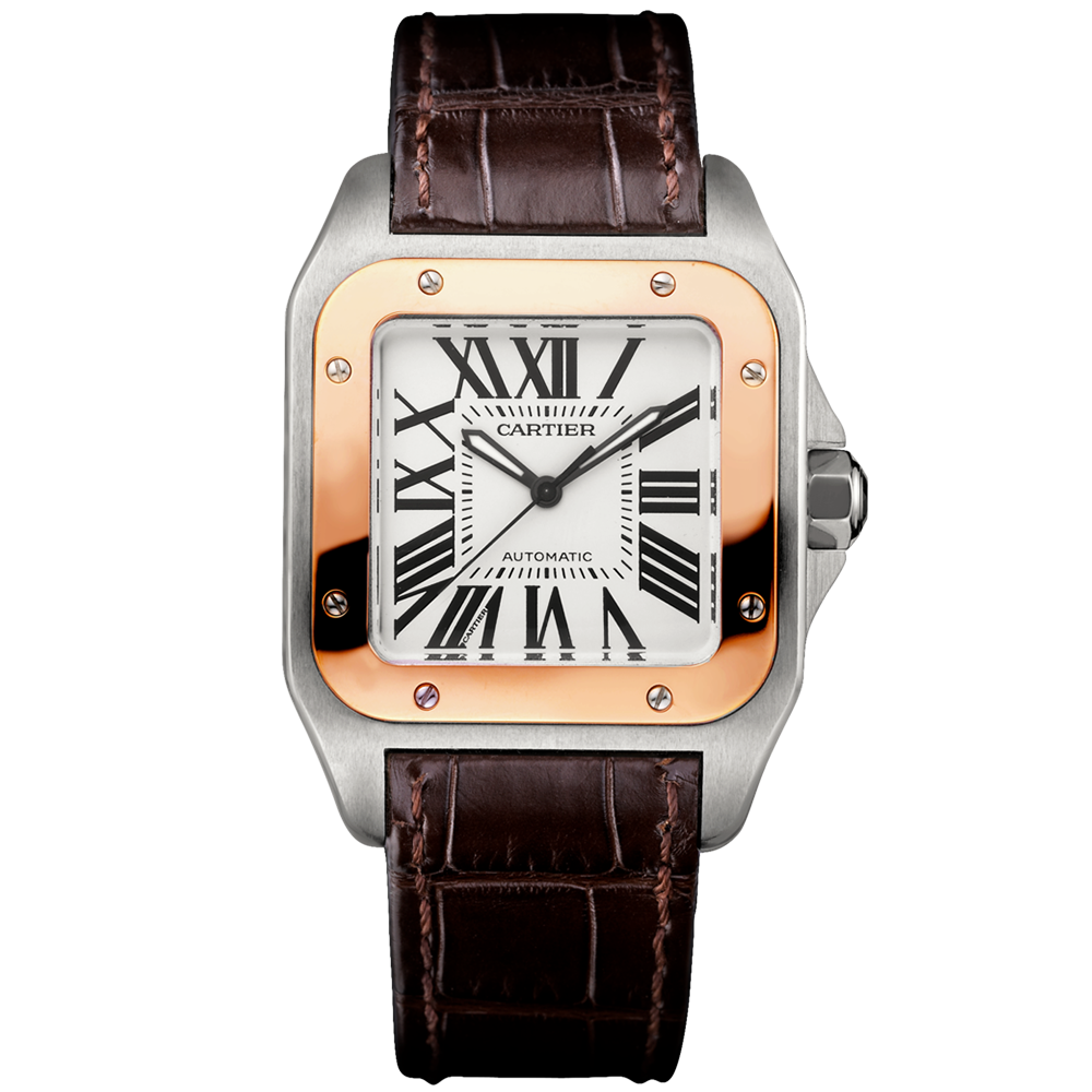 bc317605067 Cartier Santos 100 Automatic Two-Tone Medium Brown Leather Strap Watch