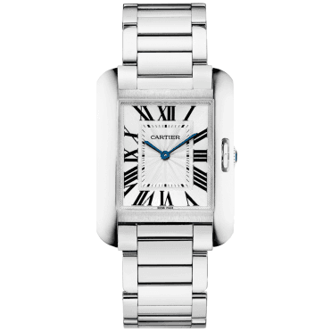 Tank Anglaise Medium Silver Dial Ladies Bracelet Watch