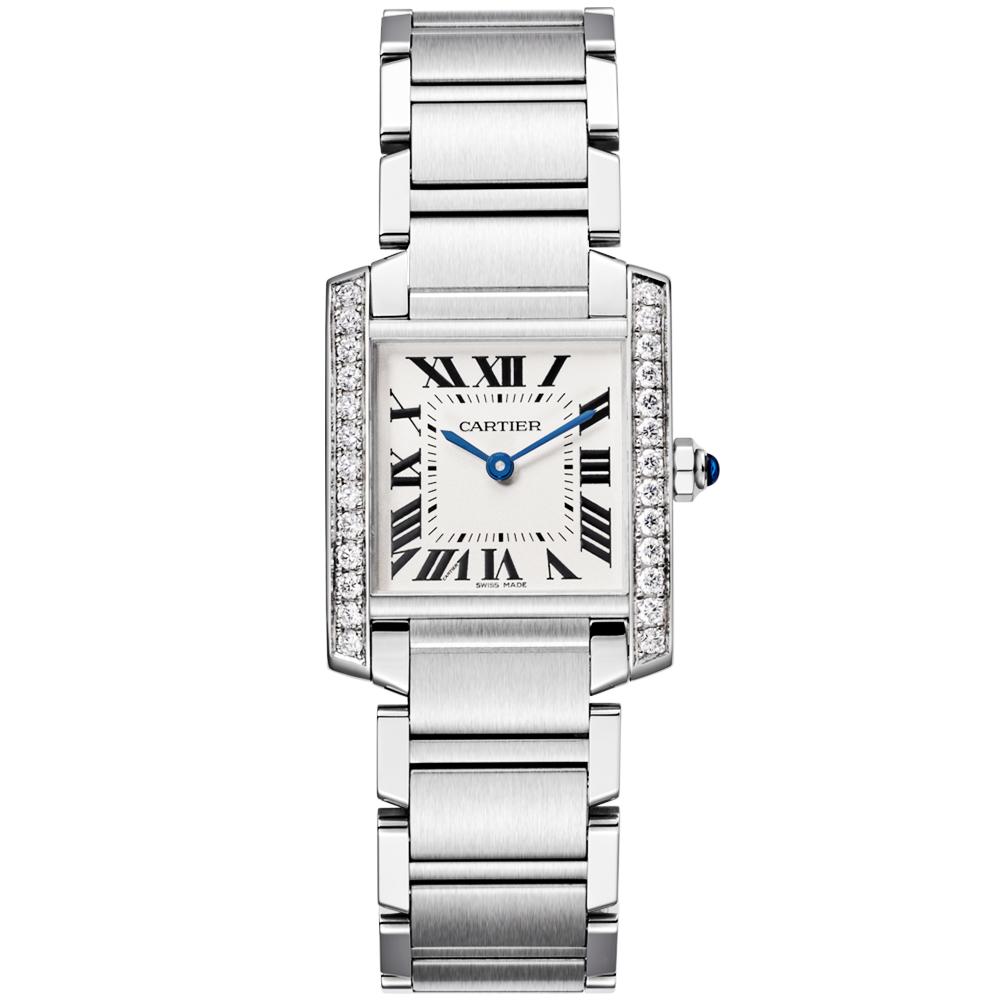82193c6f371 Cartier Tank Francaise Medium Steel   Diamond Bezel Set Watch