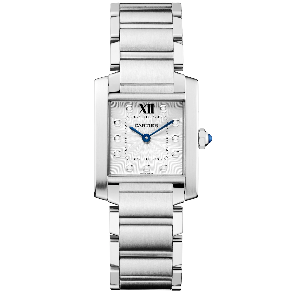 0979469bbbe64 Cartier Tank Francaise Medium Steel   Diamond Dial Ladies Watch