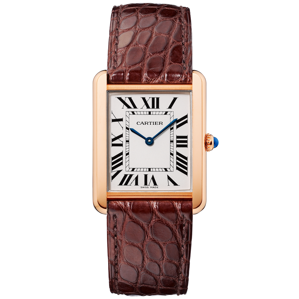 d09dc7c14446 Cartier Solo Large 18ct Pink Gold   Silver Dial Men s Strap Watch