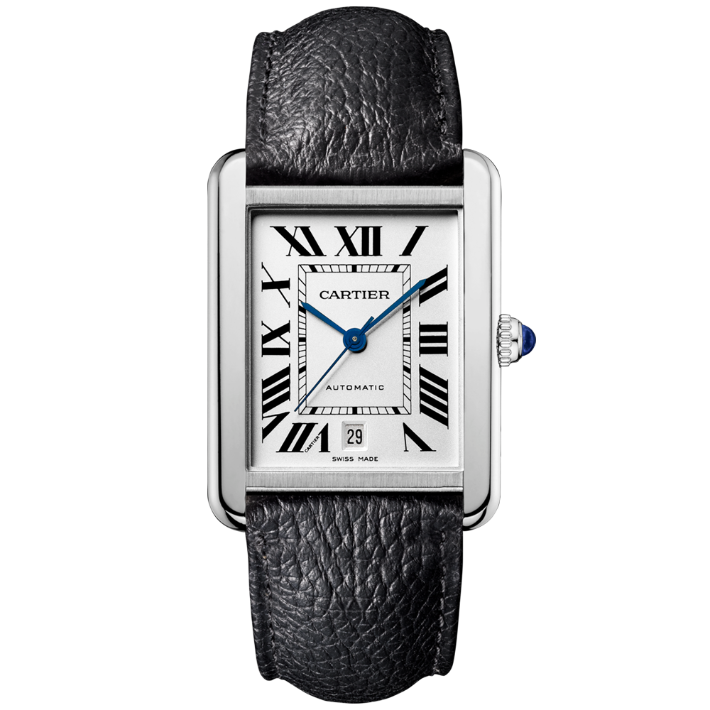 cartier tank solo xl steel black leather strap automatic watch. Black Bedroom Furniture Sets. Home Design Ideas