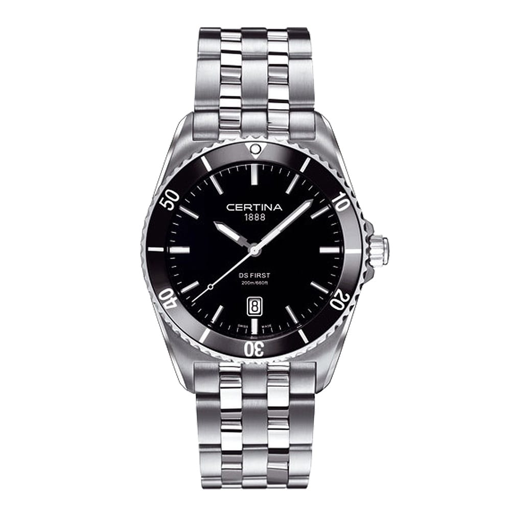 Certina ds first steel black ceramic bezel black dial bracelet watch for Men decagonal bezel bracelet