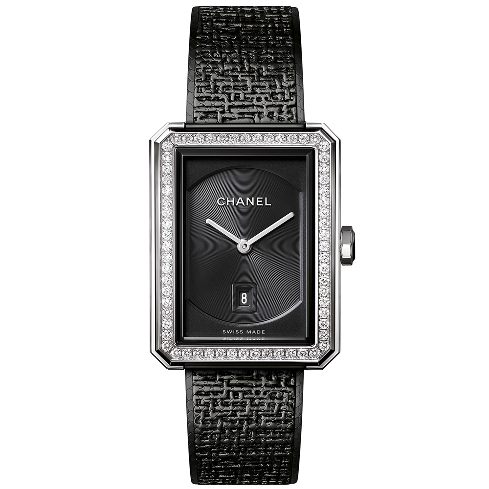 Boy Friend Black Tweed Medium Black Dial Diamond Bezel Ladies Watch