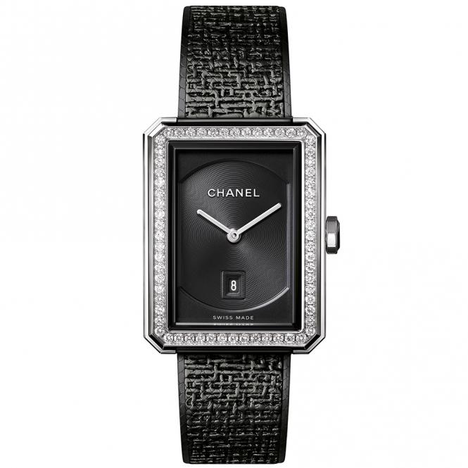 Chanel boy friend black tweed black dial diamond bezel ladies watch for Small size womans watch