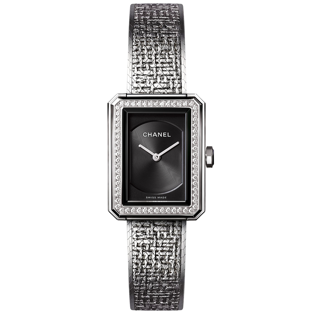 Boy Friend Tweed Small Black Dial Diamond Bezel Ladies Watch