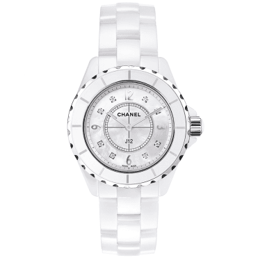 J12 38mm White Ceramic & Mother of Pearl Diamond Dial Watch