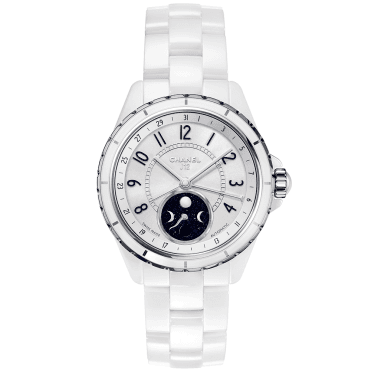 J12 Moonphase 38mm White Ceramic & Steel Ladies Automatic Watch