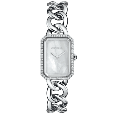 Premiere Large White Mother of Pearl Dial & Diamond Bezel Watch