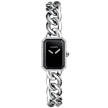 Premiere Small Black Lacquered Dial & Diamond Bezel Watch