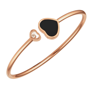 18ct Rose Gold Happy Hearts Black Onyx & Diamond Bangle