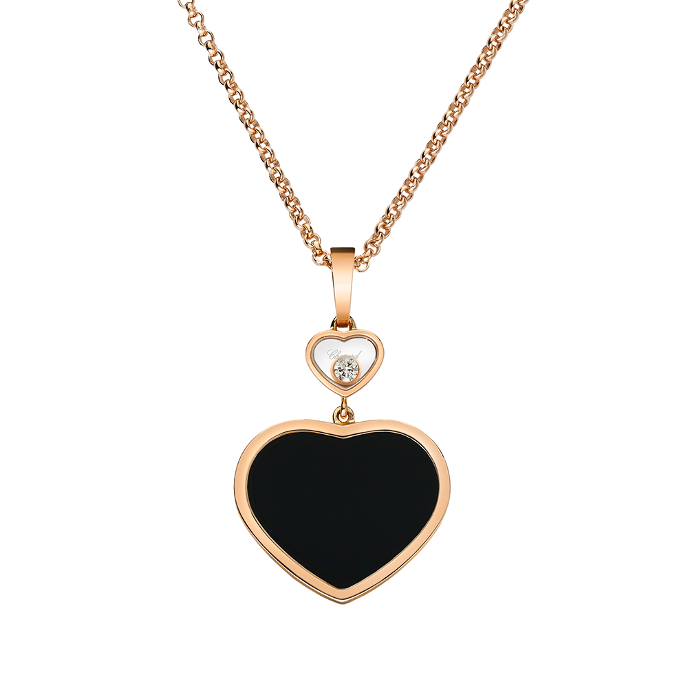 Rose gold happy hearts black onyx diamond pendant 18ct rose gold happy hearts black onyx diamond pendant aloadofball Images