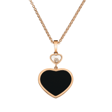18ct Rose Gold Happy Hearts Black Onyx & Diamond Pendant