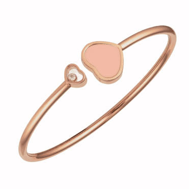 18ct Rose Gold Happy Hearts Coral & Diamond Bangle