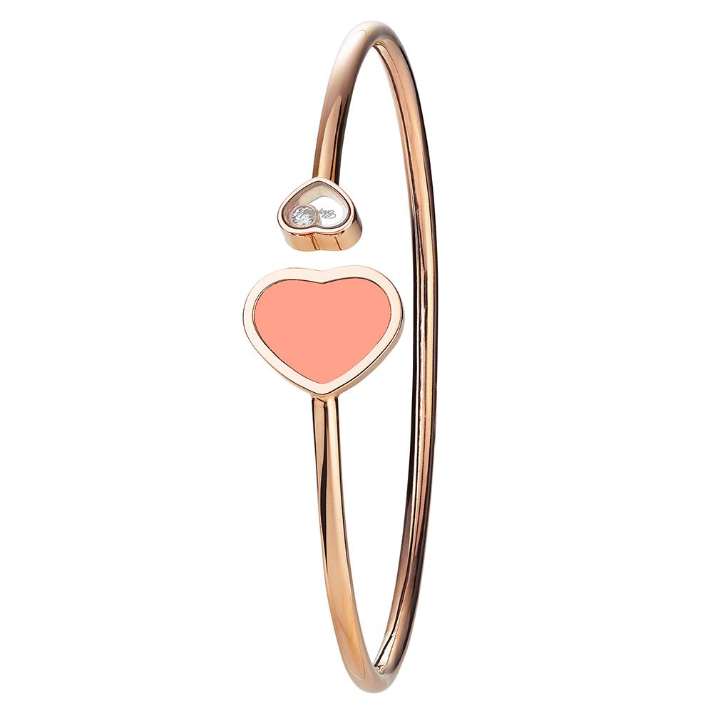 686f626c9c099 18ct Rose Gold Happy Hearts Coral & Diamond Bangle