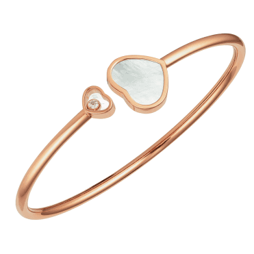 18ct Rose Gold Happy Hearts Mother Of Pearl & Diamond Bangle