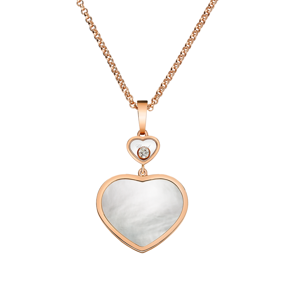 42a6893a8da237 18ct Rose Gold Happy Hearts Mother of Pearl & Diamond Pendant