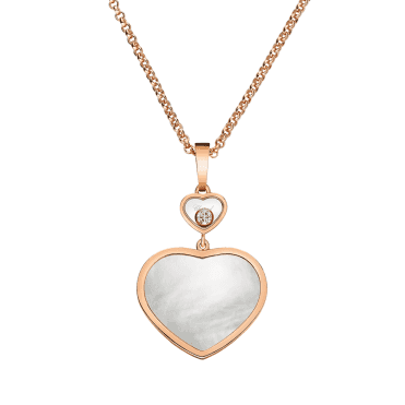 18ct Rose Gold Happy Hearts Mother of Pearl & Diamond Pendant