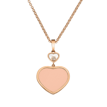 18ct Rose Gold Happy Hearts Pink Coral & Diamond Pendant
