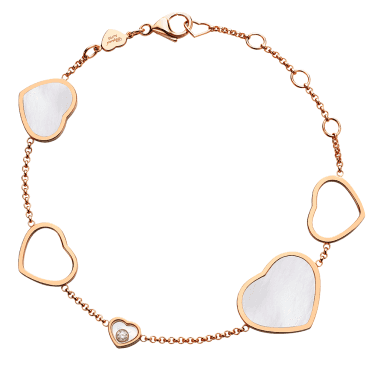 18ct Rose Gold Mother Of Pearl Happy Hearts & Diamond Bracelet