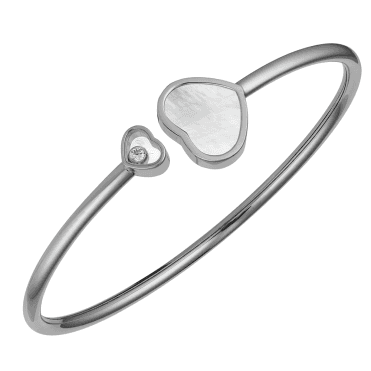18ct White Gold Happy Hearts Mother Of Pearl & Diamond Bangle