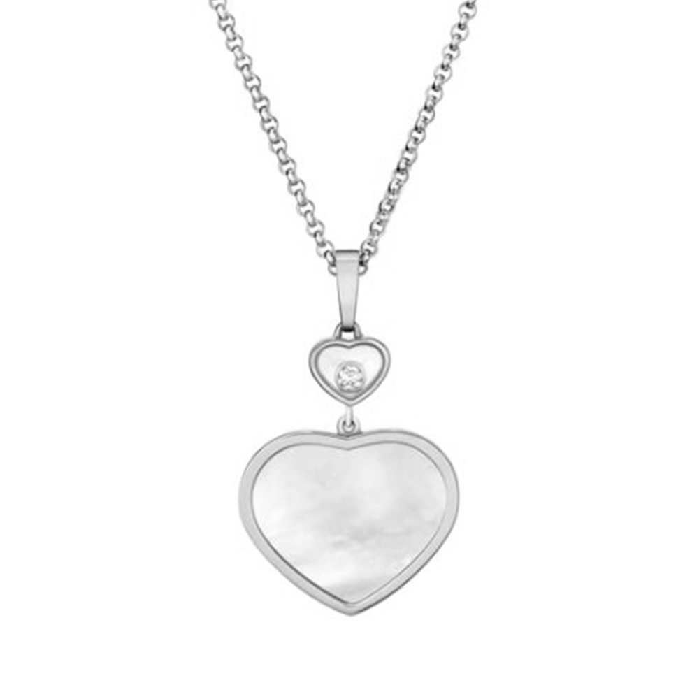 f497fa967e47f7 18ct White Gold Happy Hearts Mother of Pearl & Diamond Pendant