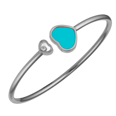 18ct White Gold Happy Hearts Turquoise & Diamond Bangle