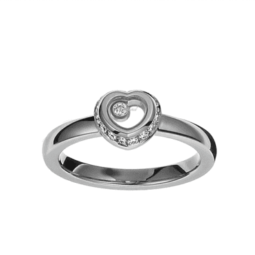 18ct White Gold Heart Shaped Diamond Surround Miss Happy Ring