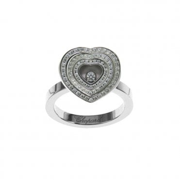 18ct White Gold Heart Shaped Pave Diamond Happy Spirit Ring