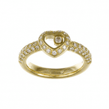 18ct Yellow Gold Happy Diamonds Heart Shaped Diamond Surround Diamond Band Ring