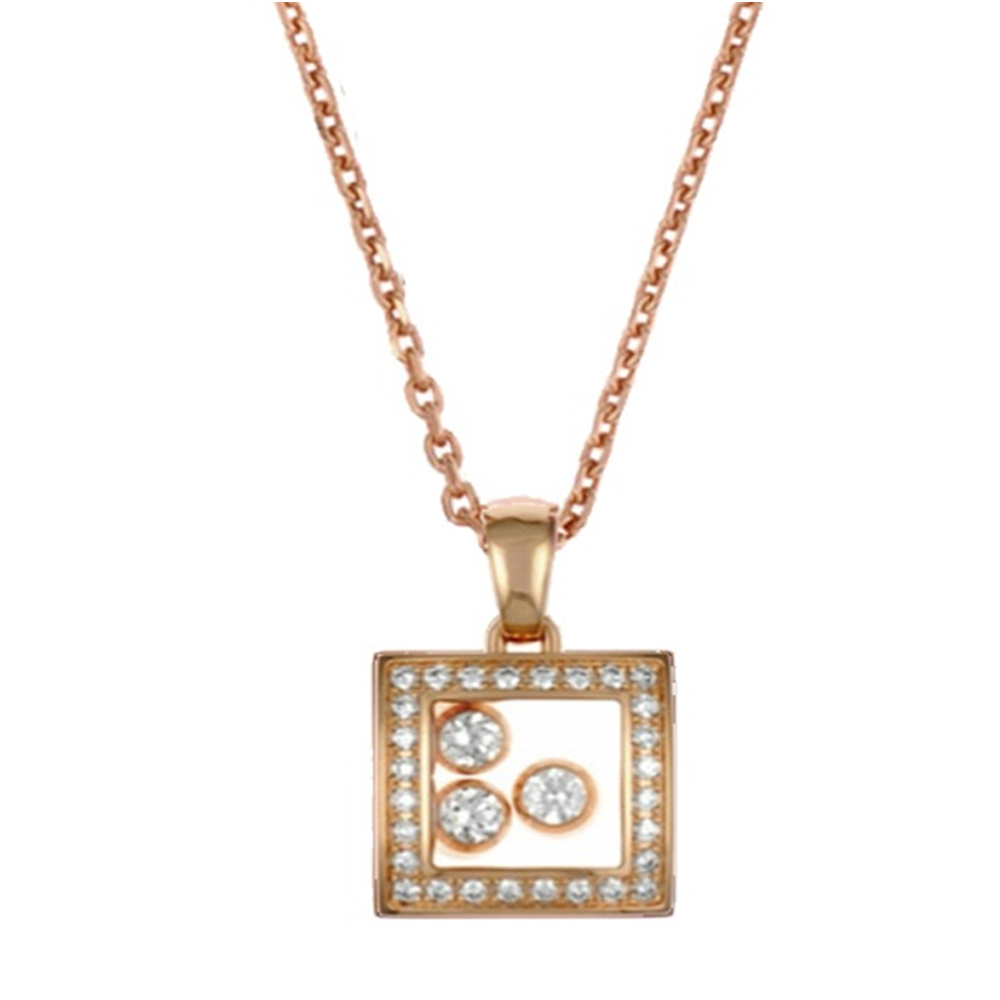 Chopard 18ct rose gold happy curves diamond surround 3 floating chopard happy diamonds happy curves 18ct rose gold pendant aloadofball Choice Image