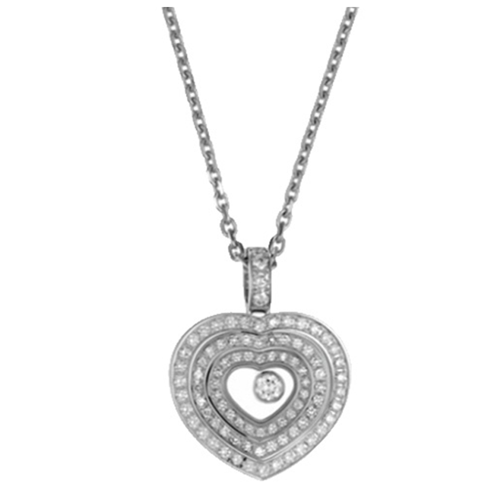 Chopard 18ct white gold happy spirit pave diamond heart pendant on chopard happy diamonds happy spirit 18ct white gold heart pendant mozeypictures