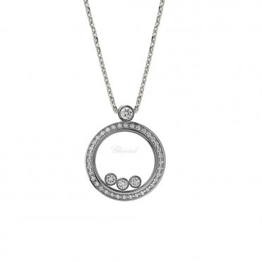 Chopard Happy Diamonds Themes 18ct White Gold Diamond Bezel Round Pendant