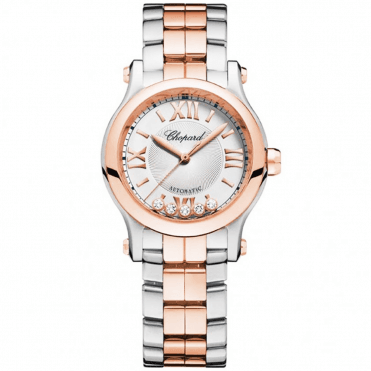 Happy Sport 30mm Steel & 18ct Rose Gold Ladies Bracelet Watch