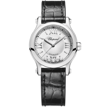 Happy Sport 30mm Steel & Floating Diamond Dial Ladies Strap Watch