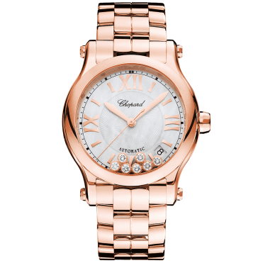 Happy Sport 36mm 18ct Rose Gold & Diamond Dial Bracelet Watch