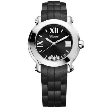 Happy Sport Round 36mm Steel Ladies Black Rubber Strap Watch