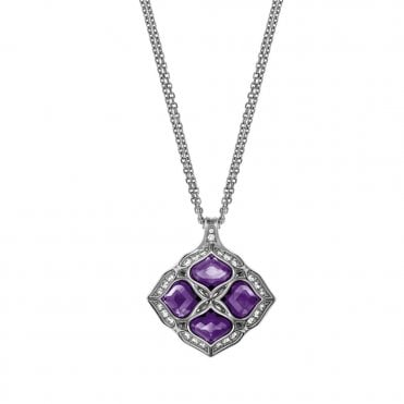 Imperiale 18ct White Gold Diamond Surround Amethyst Pendant