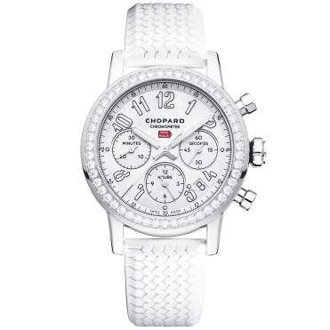 Mille Miglia 39mm White Mother of Pearl & Diamond Bezel Watch