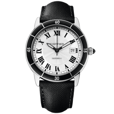 Croisiere De Cartier Steel Silver Roman Dial Automatic Men's Leather Strap Watch