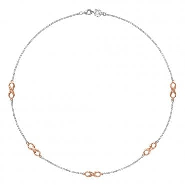 Sterling Silver & 18ct Rose Vermeil Entwined Infinity Necklace