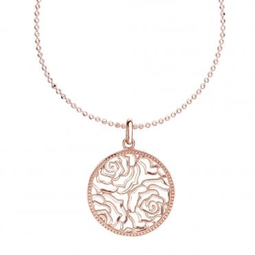 Sterling Silver 18ct Rose Vermeil Wild Rose Disc Necklace