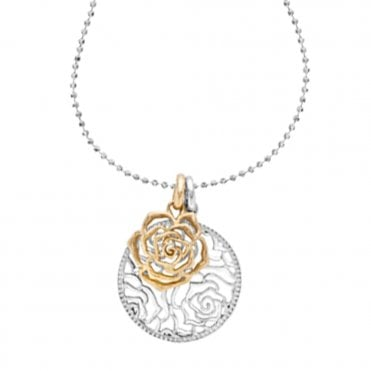 Sterling Silver & 18ct Yellow Vermeil Wild Rose Necklace