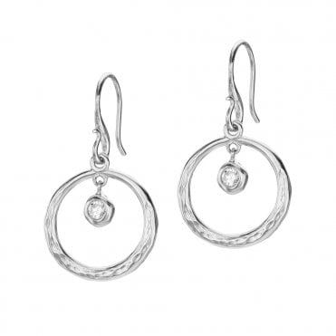 Sterling Silver Dewdrop White Topaz Drop Earrings