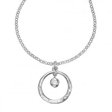 Dower & Hall Sterling Silver Dewdrop White Topaz Necklace