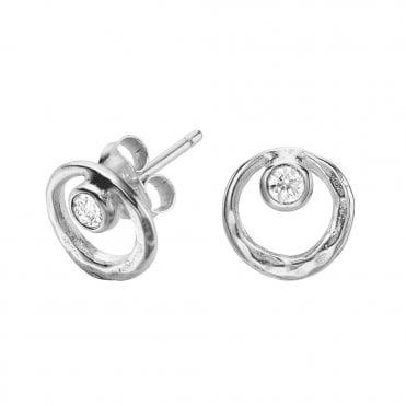 Dower & Hall Sterling Silver Dewdrop White Topaz Stud Earrings