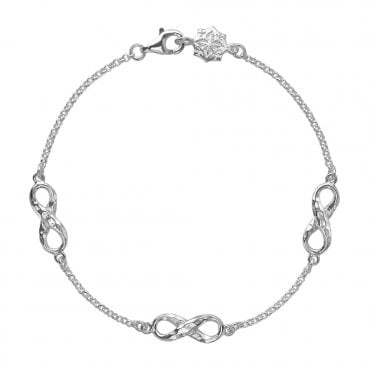 Dower & Hall Sterling Silver Entwined Triple Infinity Bracelet