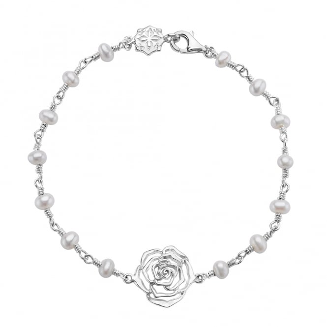 Dower & Hall Sterling Silver & Pearl Wild Rose Twiddle Bracelet