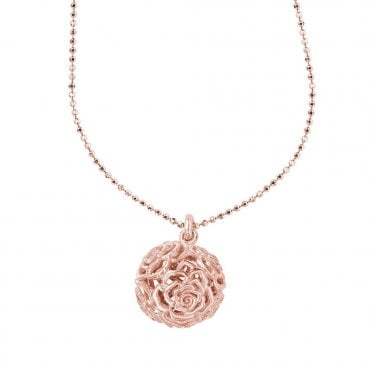 Dower & Hall Sterling Silver & Rose Vermeil Wild Rose Ball Pendant